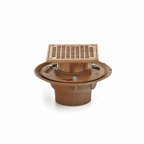 Smith® 2005Y02BA-P050 Adjustable Floor Drain With Strainer Head, 2 in Outlet, No Hub, Cast Iron Drain