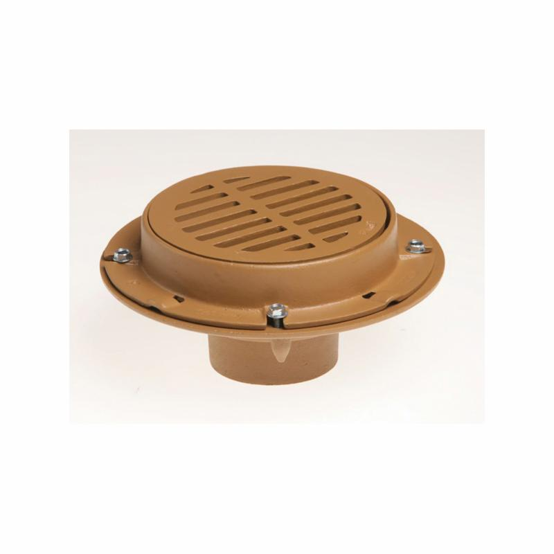 Smith® 2110Y06 (-P050) Medium Duty Floor Drain With Round Top, 6 in Outlet, No Hub, Cast Iron Drain