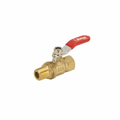 Jomar Valve® 100-399 2-Piece Mini Ball Valve, 1/4 in, FNPT x MNPT, Brass Body, Full Port, Buna-N Softgoods