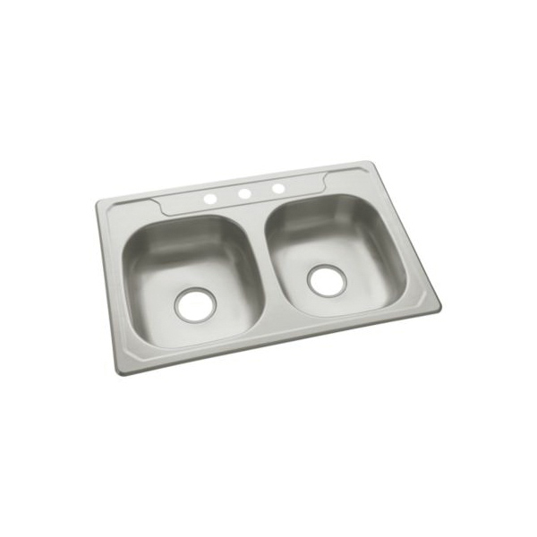 Sterling® 14633-3-NA Self-Rimming Kitchen Sink, Middleton®, Rectangular, 13-3/4 in L x 15-1/2 in W x 6 in D Left Bowl, 13-3/4 in L x 15-1/2 in W x 6 in D Right Bowl, 3 Faucet Holes, 33 in L x 22 in W x 6 in H, Top Mount, Stainless Steel
