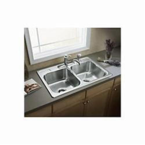 Sterling® 14707-4-NA Kitchen Sink, Middleton®, Rectangular, 14 in L x 15-1/8 in W x 7 in D Left Bowl, 14 in L x 15-1/8 in W x 7 in D Right Bowl, 4 Faucet Holes, 33 in L x 22 in W x 7 in H, Top Mount, Stainless Steel, Satin