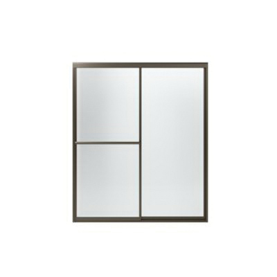 Sterling® 572075-59N-G03 Framed Sliding Shower Door With ComforTrack™ Technology, Tempered Glass, Nickel, 3/16 in THK Glass, 66-13/16 in H x 54-3/8 to 59-3/8 in W Opening, Prevail®