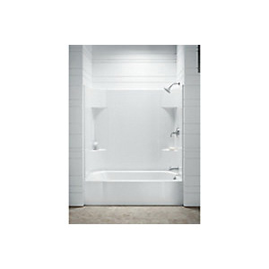Sterling® 71141128-0 Accord® Bathtub with Backer Board, Soaking Hydrotherapy, Rectangular, 60 in L x 30 in W, Right Drain, White