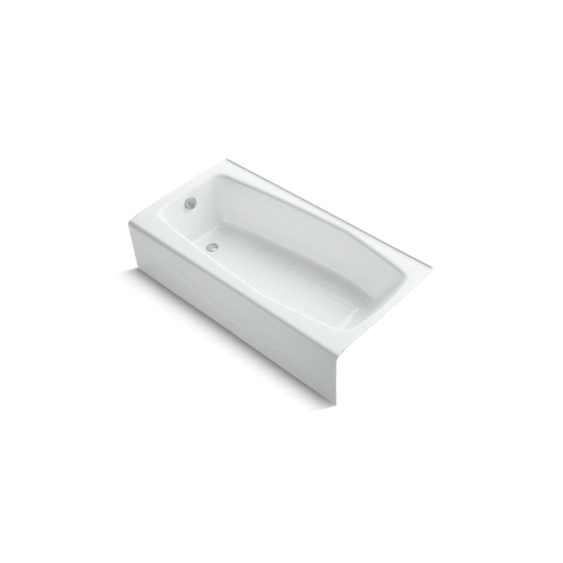 Kohler® 715-0 Villager™ Bathtub with Integral Apron, Soaking Hydrotherapy, Rectangular, 60 in L x 30-1/4 in W, Left Drain, White