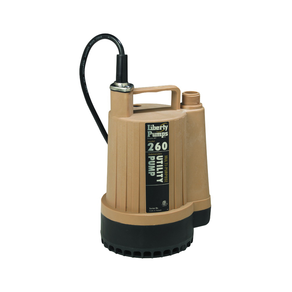 Liberty Pumps® 260 Submersible Utility Pump, 17 gpm, 3/4 in NPT Outlet, 1/6 hp, Thermoplastic, Import