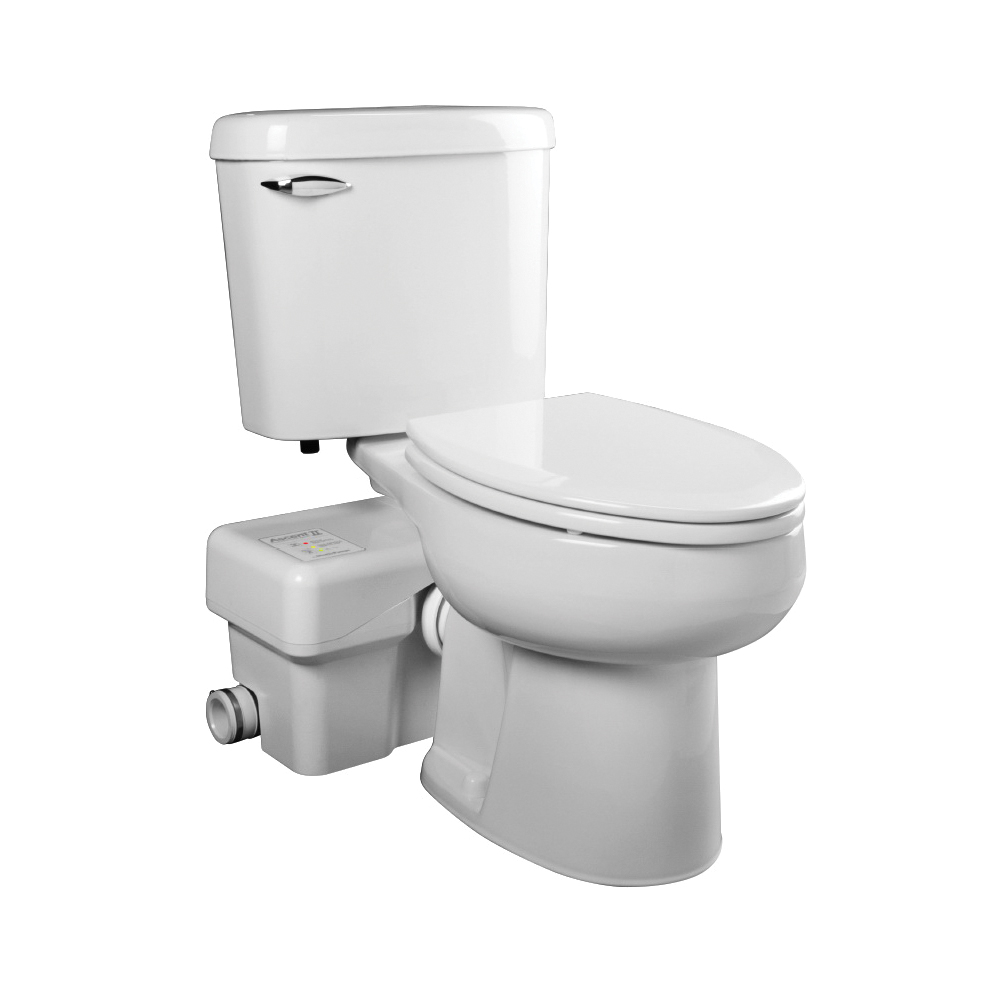 Liberty Pumps® ASCENTII-ESW Macerating Toilet, Elongated Bowl, 17-3/8 in Rim, 1.28 gal Flush Rate, White, Import