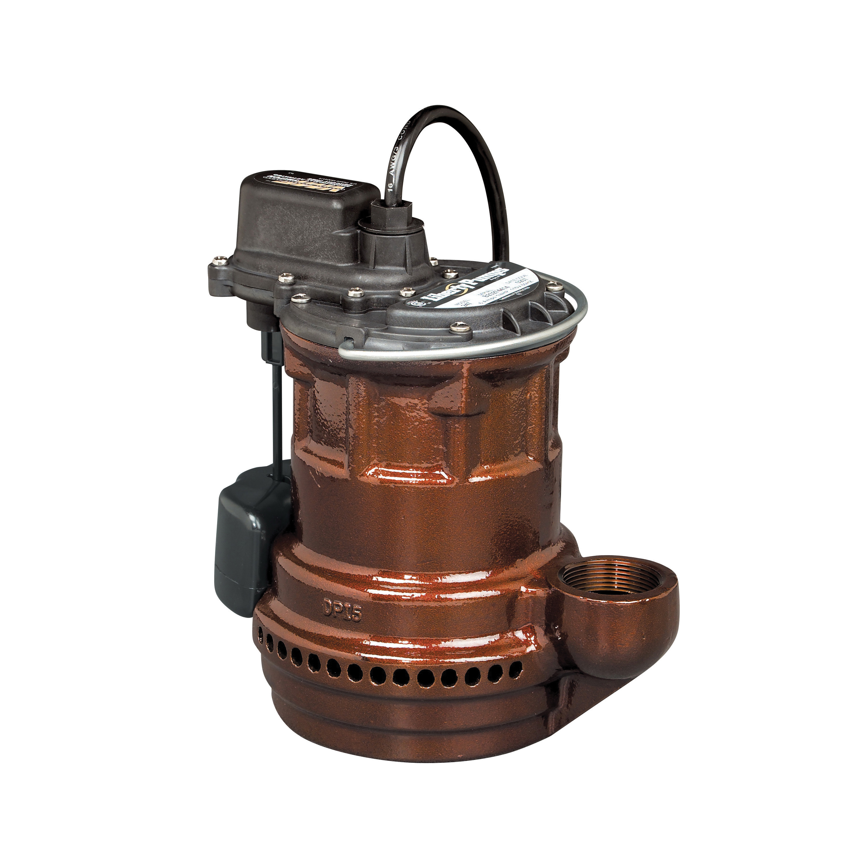 Liberty Pumps® 241 240 Submersible Sump Pump, 1-1/2 in Outlet, 1/4 hp, Cast Iron, Domestic