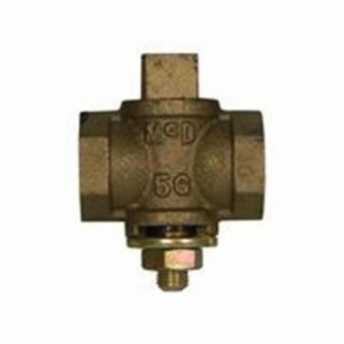 McDonald® 4215-193, 10596 Flat Tee Head Plug Valve With Check, 3/4 in, FNPT, Bronze Body