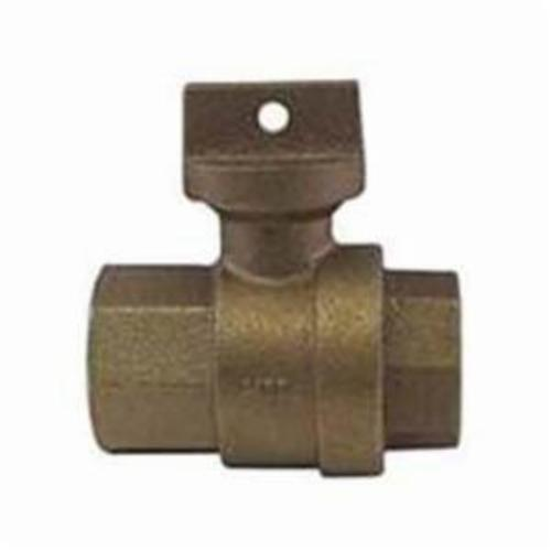 McDonald® 5139-114 Straight Ball Meter Stop With Lockwing, 3/4 in Nominal, 5/8 x 3/4 or 3/4 in Meter, FNPT x Meter, 300 psig, Brass Body, EPDM/Rubber Softgoods