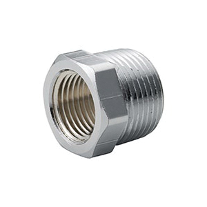 Merit Brass C114-0804 Hex Head Pipe Bushing, 1/2 x 1/4 in, Brass, Chrome Plated, Import