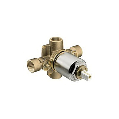 CFG 45317 4-Port Pressure Balancing Tub/Shower Valve, 1/2 in C Inlet x 1/2 in Female IPS Outlet, Brass Body, Import