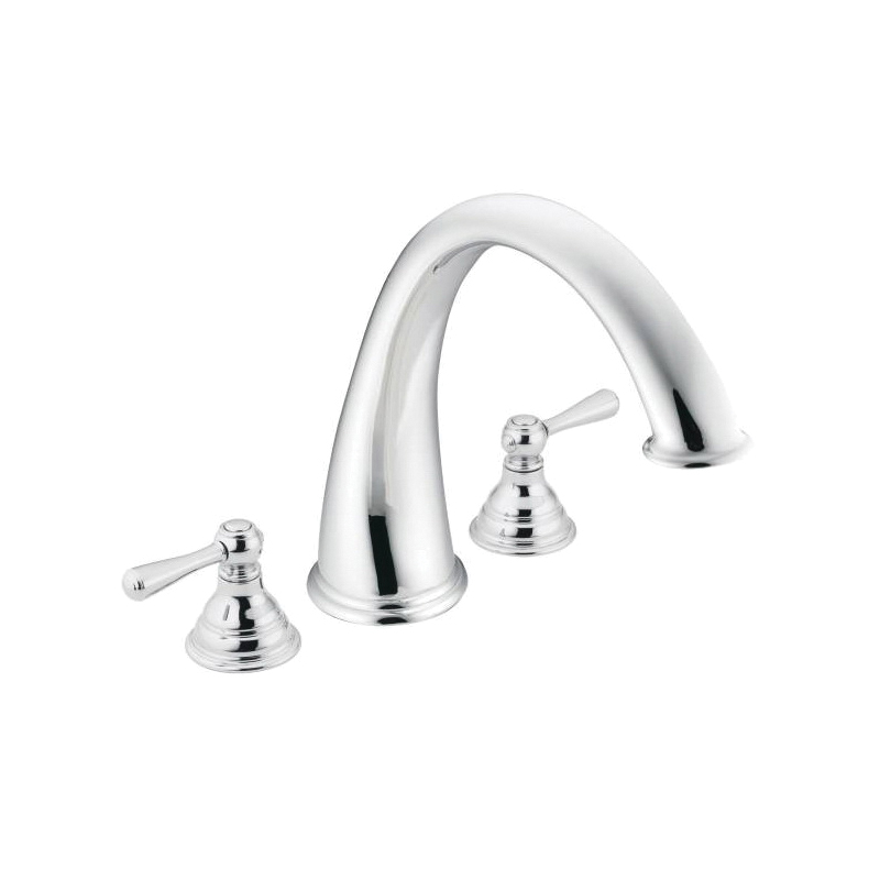 Moen® T920 Roman Tub Faucet, Kingsley™, 10 in Center, Chrome Plated, 2 Handles, Function: Traditional, Hand Shower Yes/No: No, Domestic