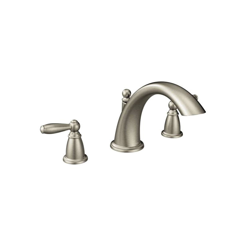 Moen® T933BN Roman Tub Faucet, Brantford™, 10 in Center, Brushed Nickel, 2 Handles, Function: Traditional, Hand Shower Yes/No: No, Domestic