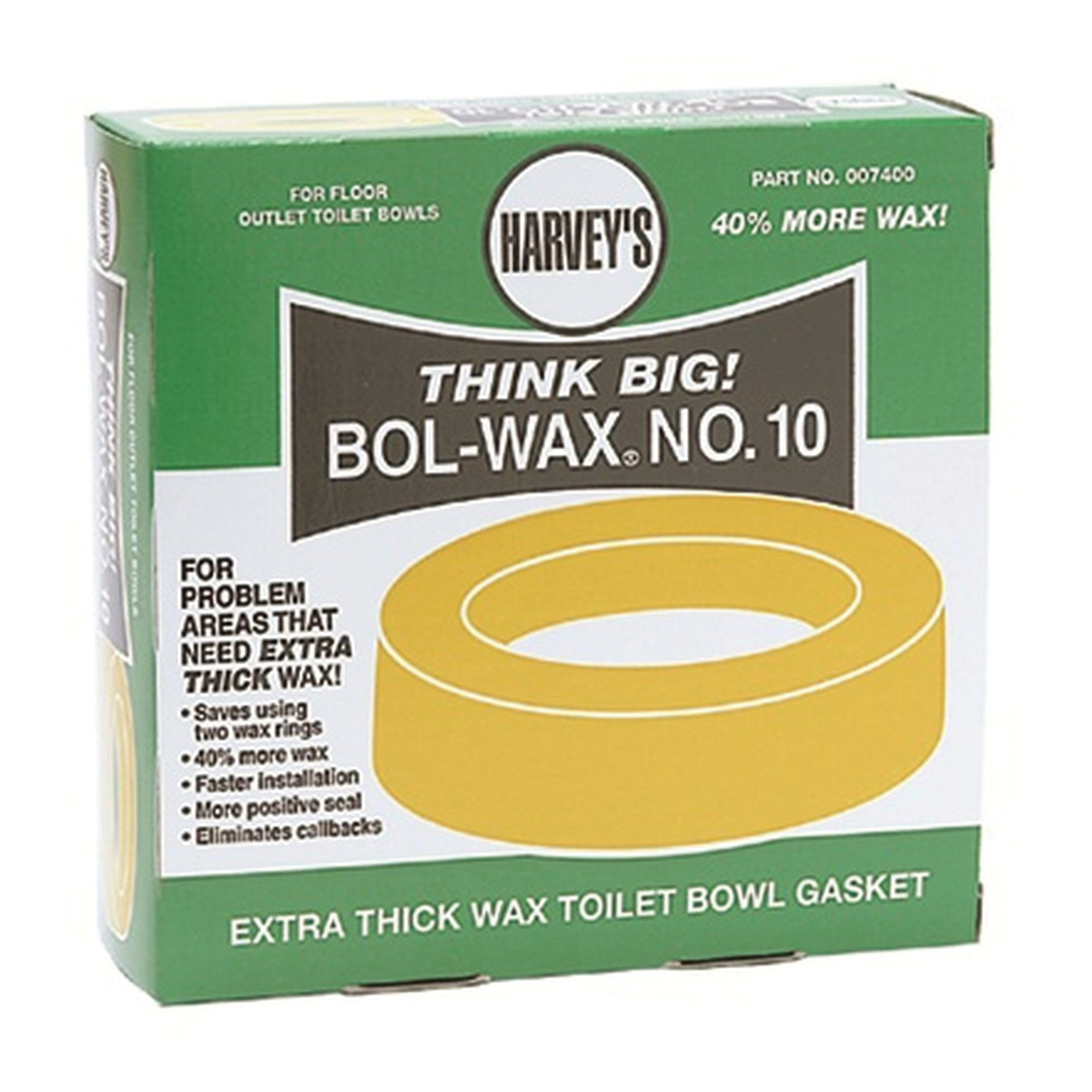 Harvey® 007400 Bol-Wax® No. 10 Standard Extra-Thick Wax Gasket, For Use With Floor Closet Bowl