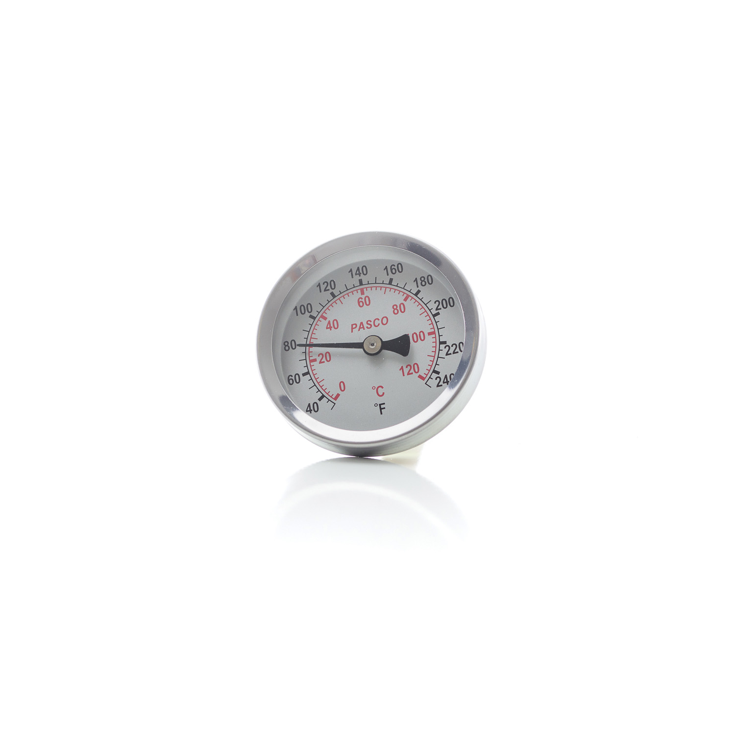 PASCO 1449 Economical Dial Thermometer, 2-1/2 in, 1/2 in MNPT Back Mount, 40 to 250 deg F