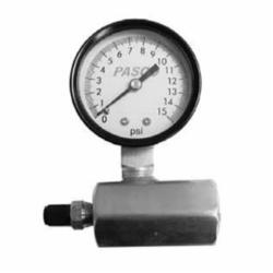 PASCO 1726-10G Air Test Gauge Assembly, 0 to 15 psi, 3/4 in FNPT Connection, 2 in Dial