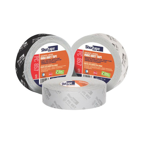 Shurtape® 101015 PC 857 HVAC Grade Printed Duct Tape, 48 mm W x 55 m L, 14 mil THK, Metalized Silver