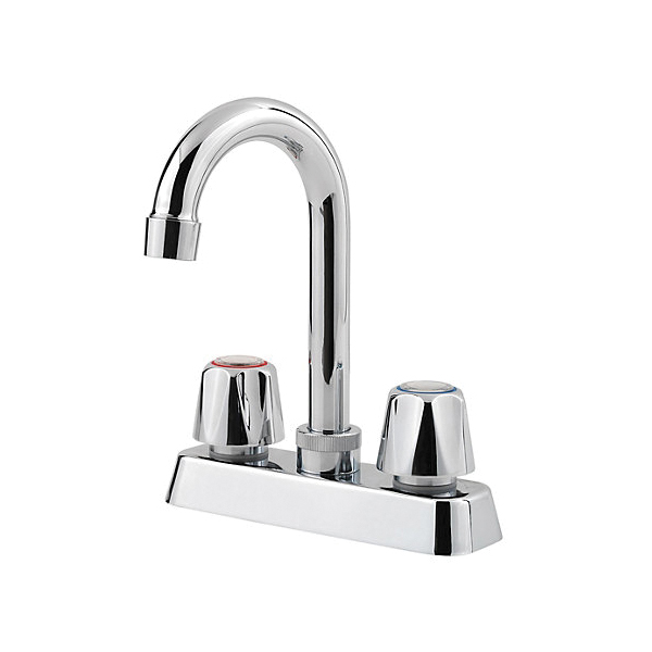 Pfister® G171-4000 Pfirst Series™ Bar and Kitchen Island Faucet, 1.8 gpm, 4 in Center, Polished Chrome, 2 Handles