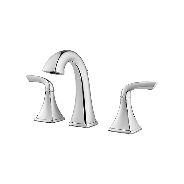 Pfister® LG49-BS0C Bronson™ Professional Grade Widespread Lavatory Faucet, 1.2 gpm, 5-1/16 in H Spout, 8 to 15 in Center, Polished Chrome, 2 Handles, Metal Pop-Up Drain, Import