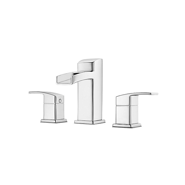 Pfister® LG49-DF0C Kenzo™ Professional Grade Widespread Lavatory Faucet, 1.2 gpm, 3-21/32 in H Spout, 8 to 15 in Center, Polished Chrome, 2 Handles, Metal Pop-Up Drain