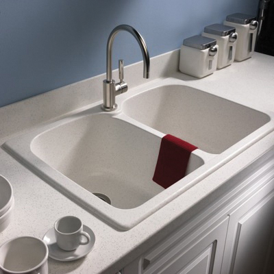 Swan® KS02233LB.018 Super Double Bowl Kitchen Sink, 33 in W x 22 in D, Bisque, Domestic