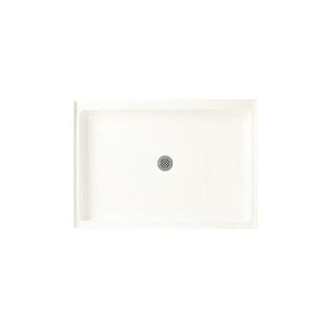 Swan® FF03448MD.010 Single Threshold Shower Floor With Fit-Flo™ Drain, White, Center Drain, 48 in W x 34 in D, Domestic