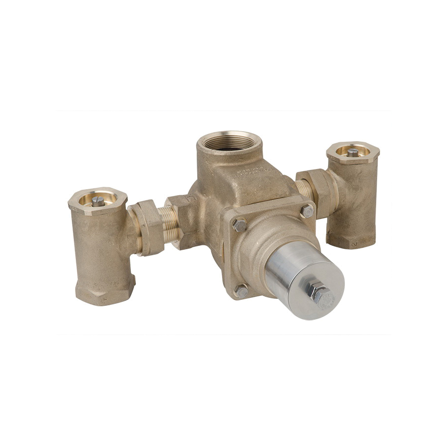 Symmons® 7-900 7 Series TempControl® Thermostatic Mixing Valve, 1-1/2 in FNPT Inlet x 1-1/2 in FNPT Outlet, 10 psi, 55 gpm, Brass/Bronze/Stainless Steel Body