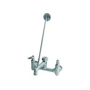 T & S B-0665-BSTR Service Sink Faucet, Wall Mount, 2 Handles, 8 in Center, 12.96 gpm, Rough Chrome