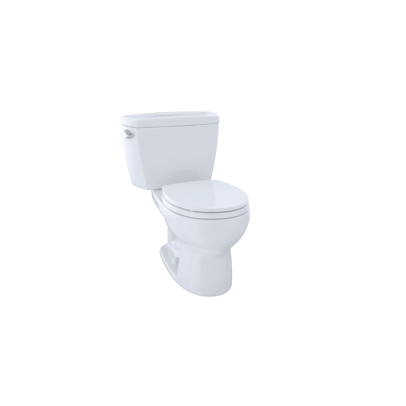 Toto® Eco Drake® CST743E#01 2-Piece Universal Height Close Coupled Toilet With Left-Hand Chrome Trip Lever, Round Front Bowl, 15-5/8 in H Rim, 1.28 gpf, Cotton White, Import