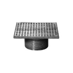 Zurn® ZB400-5S-CP Type S Retrofit Adjustable Square Strainer With Secured Heel Proof Grate, For Use With Z415 Floor Drain, 9 sq-in Open Area, 3-1/2-8 NPSM, Cast Iron